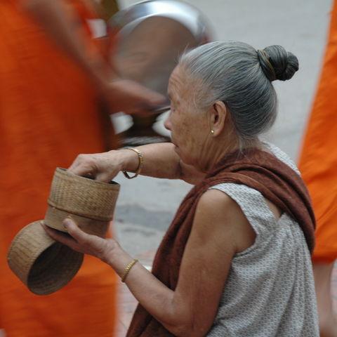 Almosengang der Mönche, Laos