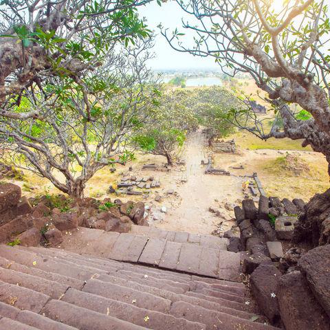 Treppen im Wat Phou Champasak, Laos