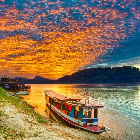 Sonnenuntergang über dem Mekong, Luang Prabang, Laos