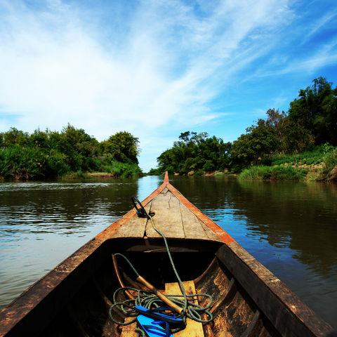 Bootsfahrt auf dem Mekong, Laos