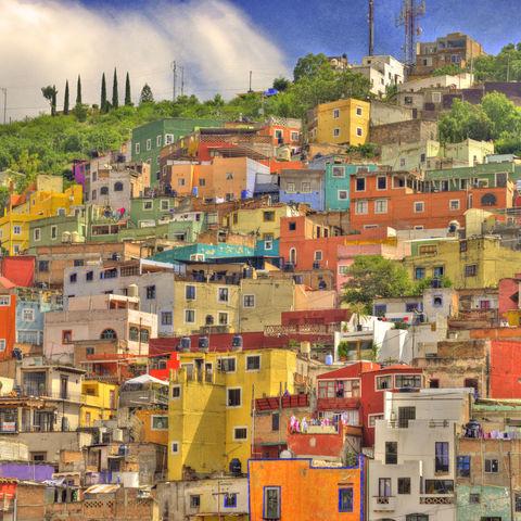 Nicht nur Oaxaca und San Cristóbal können bunt: Häuslein in Guanajuato, Mexiko