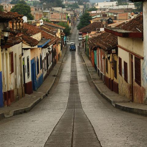 Straße in Cristobal de las Casas, Mexiko