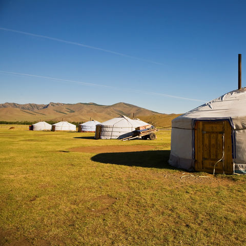 Jurtencamp im Gorchi Tereldsch Nationalpark, Mongolei