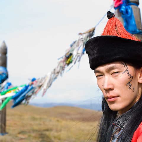 Mongole in traditioneller Tracht, Mongolei