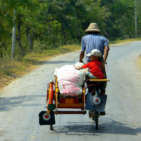 Fahrrad mit Beiwagen, Myanmar