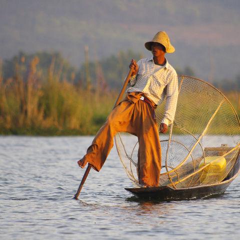Einbein-Ruderer auf dem Inle-See, Myanmar