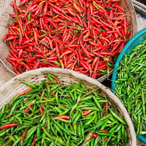 Frische grüne und rote Chilies auf einem Markt