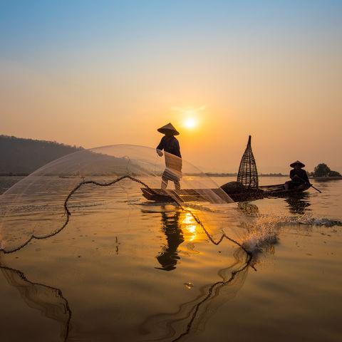 Fischer auf dem Mekong