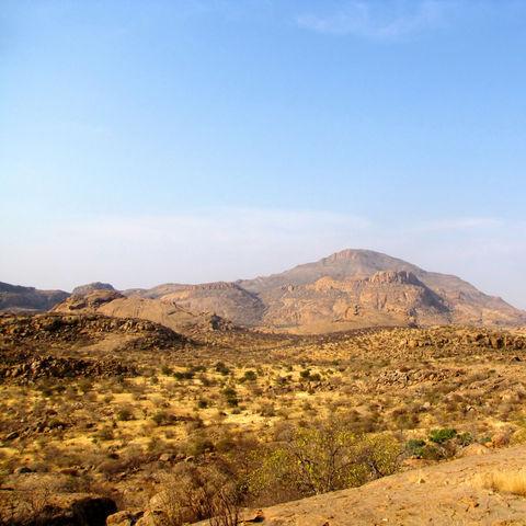 Panorama des Erongo Gebirges, Namibia