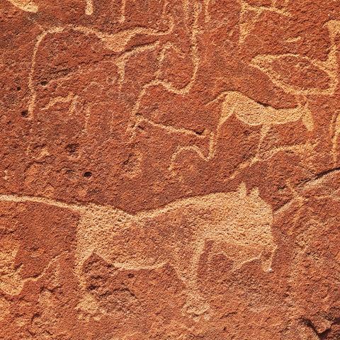 Jahrhunderte alte Felsmalereien in Twyfelfontein, Namibia