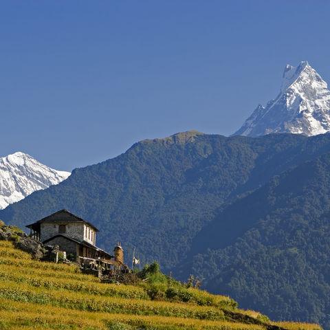 Blick auf den Machapuchare-Berg, Nepal