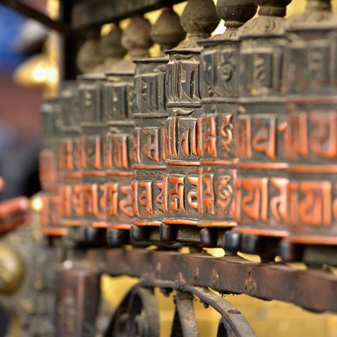 Buddhistische Gebetsmühlen in Kathmandu, Nepal
