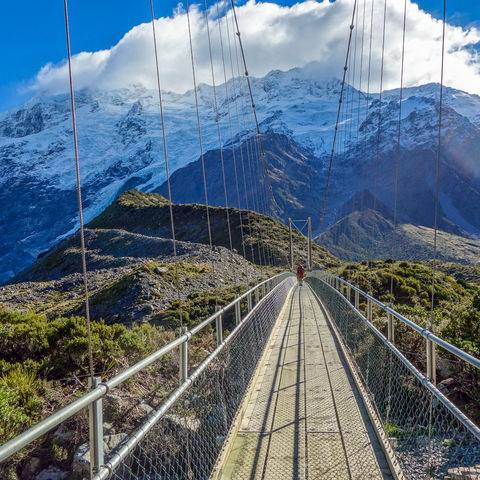 Brücke im Aoraki Nationalpark, Neuseeland
