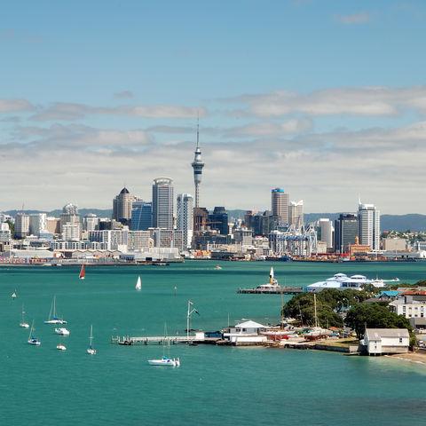 Skyline von Auckland und dem Viaduct Harbour, Neuseeland