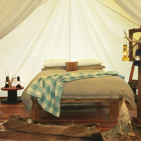 Komfortabler Schlafbereich eines Luxuszeltes, Neuseeland