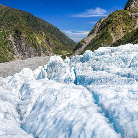 Blick vom Fox Gletscher, Neuseeland