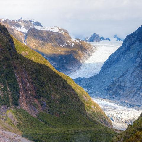 Der Fox-Gletscher in den Südalpen, Neuseeland