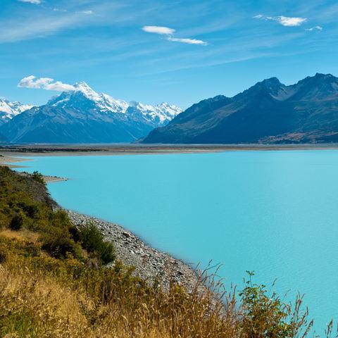 Der Mount Cook und der Pukaiki-See, Neuseeland