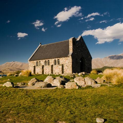 Malerische Kirche bei Tekapo, Neuseeland