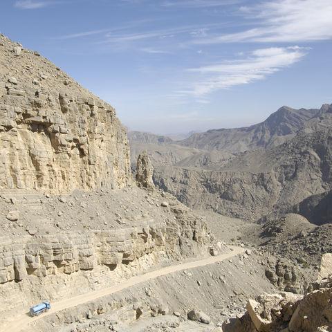 Auf dem Weg zum Jebel Harim, dem höchsten Berg Musandams, Oman