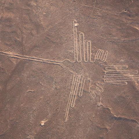 Der Kolibri als Teil der mysteriösen Nazca Linien, Nazca, Peru
