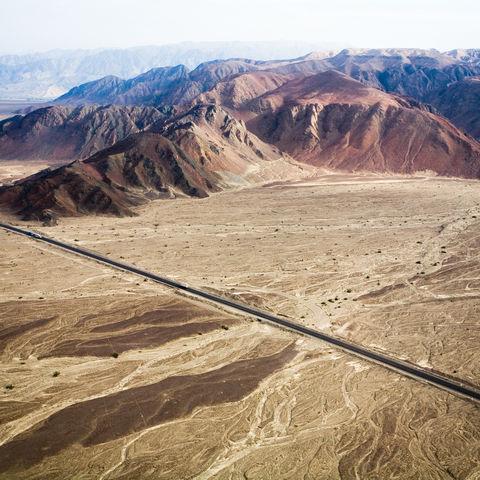 Die Panamericana-Straße bei Nazca, Peru