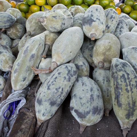 Baobab Frucht auf einem Markt, Sambia