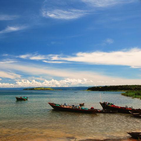 Boote vor ihrer Abfahrt, Tanganjikasee, Mpulungu, Sambia