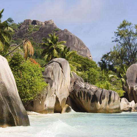 Granitfelsen am Strand Anse Source D'Argent, Seychellen