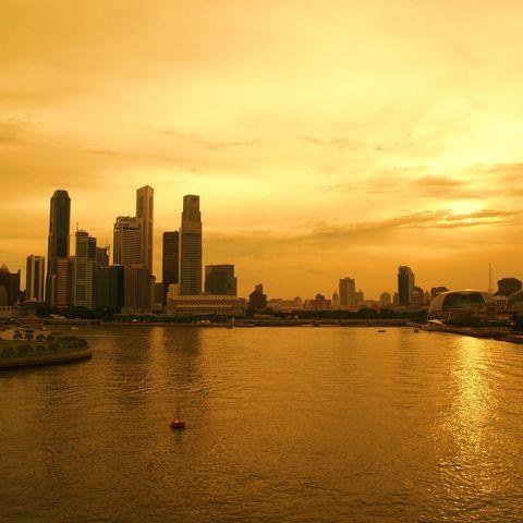 Central Business District im Abendlicht, Singapur