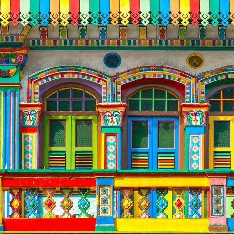 Bunte Fassade in Little India, Singapur