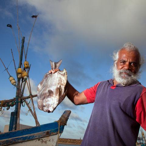 Fischer mit seinem Fang, Sri Lanka