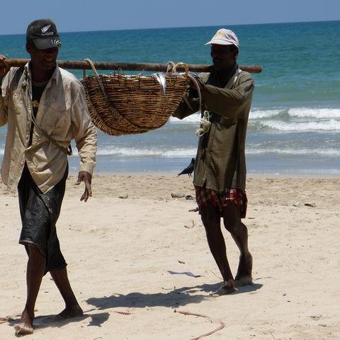 Fischer am Strand, Sri Lanka
