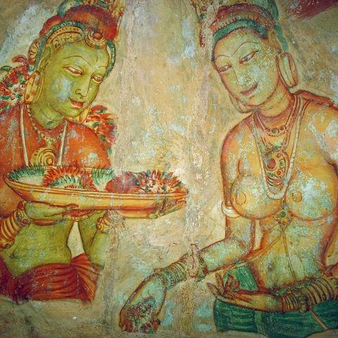 Die Fresken der Wolkenmädchen von Sigiriya, Sri Lanka