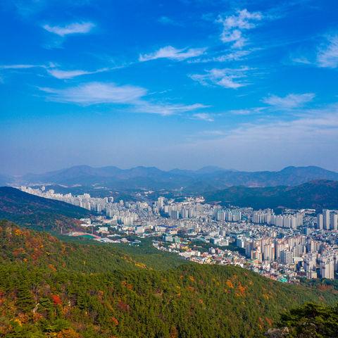 Ausblick auf die quirlige Hafenstadt Busan, Südkorea
