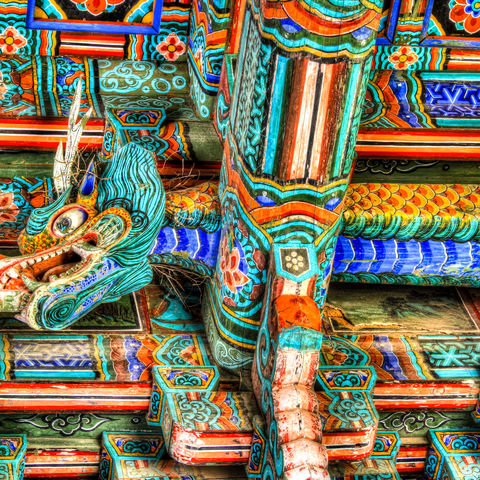 Bunter Drache am Bulguksa Tempel, Südkorea