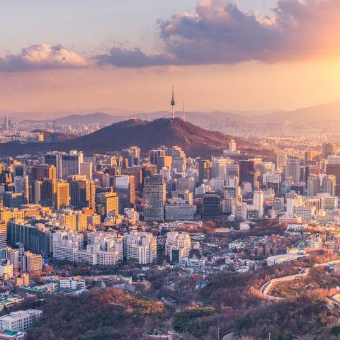 Sonnenuntergang in Seoul, Südkorea