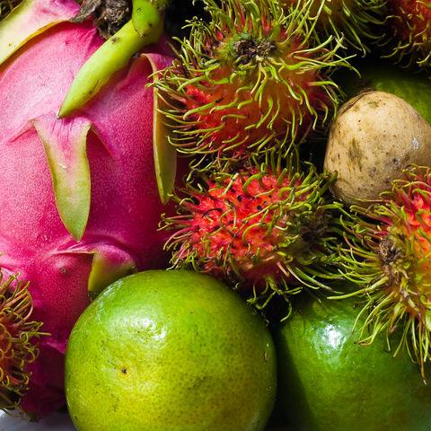 Verschiedene exotische thailändische Früchte, Thailand