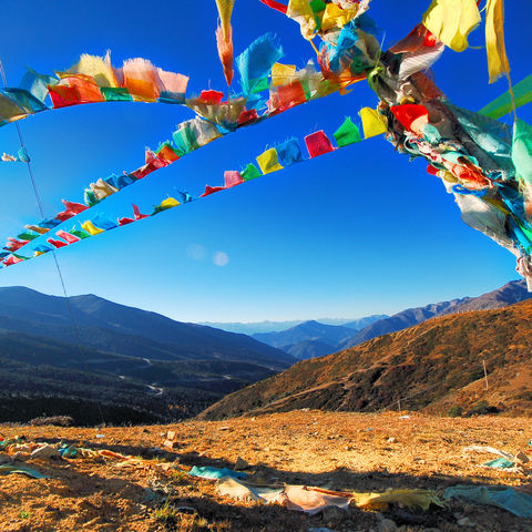 Farbenfrohe Gebetsfahnen, Tibet