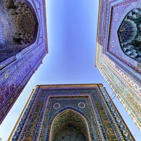 Prächtige Kuppeln der Nekropole Shah i Zinda, Samarkand, Usbekistan