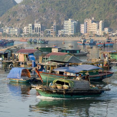 Hausboote in der Nähe der Cat Ba Insel, Vietnam