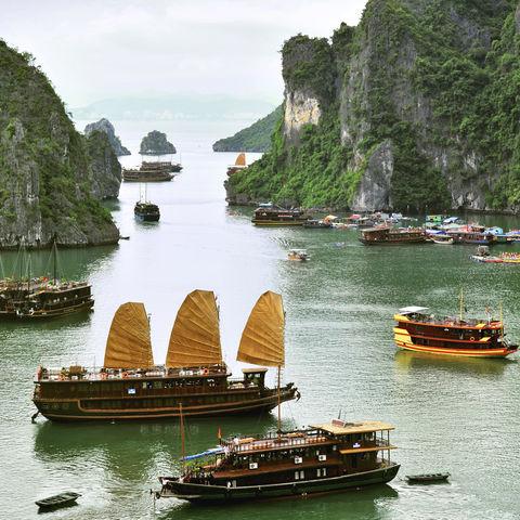 Dschunken in der Halong Bucht, Vietnam