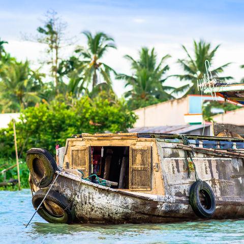 Boot auf dem schwimmenden Markt Can Tho, Mekong Delta, Vietnam