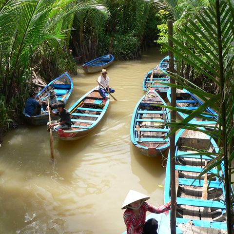 Boote im Mekong Delta nahe der Unicorn Island © ICS