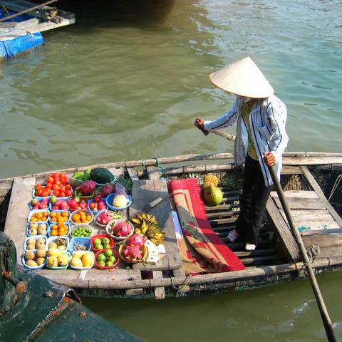 Frau verkauft auf einem schwimmenden Markt, Vietnam
