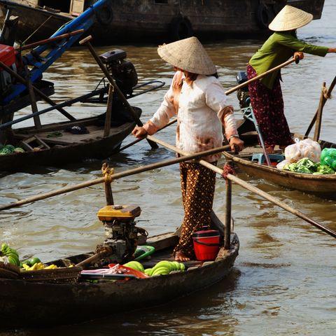 Geschäftiges Treiben auf dem Schwimmenden Markt im Mekongdelta, Vietnam