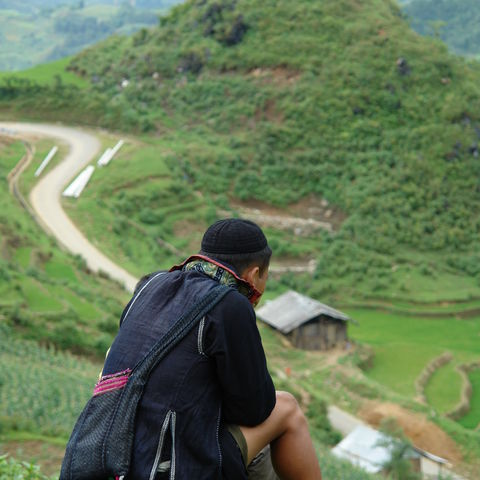 Black Hmong im Reisfeld in Nordvietnam, Vietnam