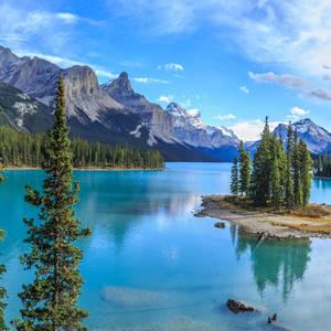 Spirit Island auf dem Maligne Lake im Jasper-Nationalpark © Stanislav Moroz, Dreamstime.com