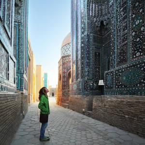 Frau bestaunt Mosaike in Samarkand © Mikhail Dudarev, Dreamstime.com